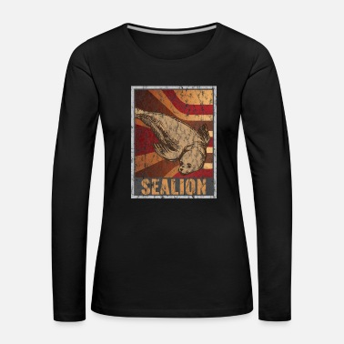 Marine Retro seals poster distressed look - Women's Premium Longsleeve Shirt