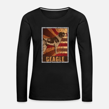 Munn Retro Beagle plakat Distressed Look - Premium langermet T-skjorte for kvinner