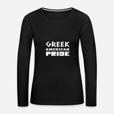 American Flag Greek-American Pride Gift For Greece Hellas People - Women's Premium Longsleeve Shirt