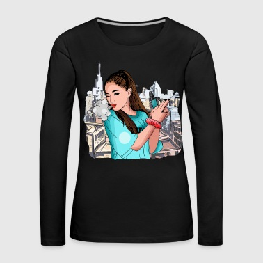 Vape Girl Woman Steaming Vaping - Women's Premium Longsleeve Shirt