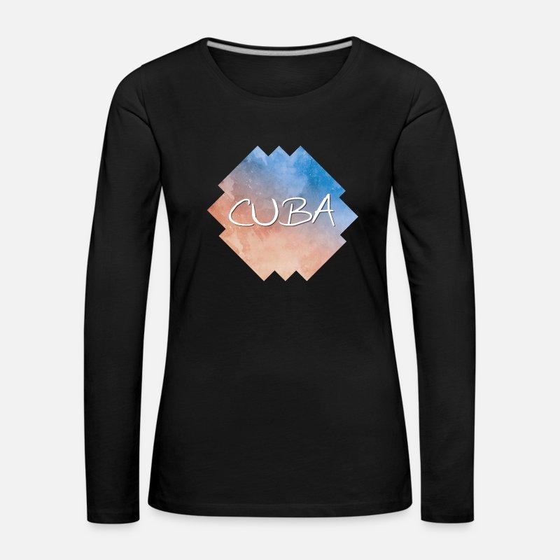Femme Longues Rww6zqrfg Manches Shirt T Cuba Premium Spreadshirt 0Omv8Nwn