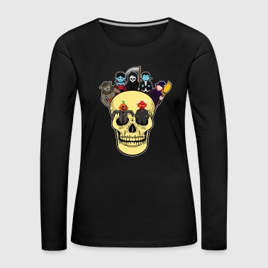 Halloween monster gathering in the skull - Women's Premium Longsleeve Shirt