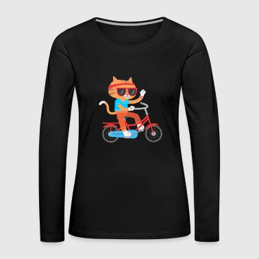 CAT ON BICYCLE FUNNY GIFT KIDS IDEA - Women's Premium Longsleeve Shirt