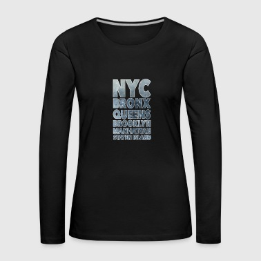 NYC Boroughs White - Women's Premium Longsleeve Shirt