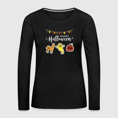 Black Cat Happy Halloween Doodle Pumpkin Face Ghost - Women's Premium Longsleeve Shirt