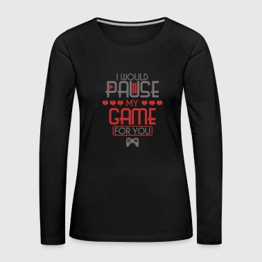Video Game Game Pause Heart Controller Player - Women's Premium Longsleeve Shirt