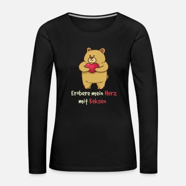 Hunger Teddy conquer my heart with biscuits Valentine's Day - Women's Premium Longsleeve Shirt