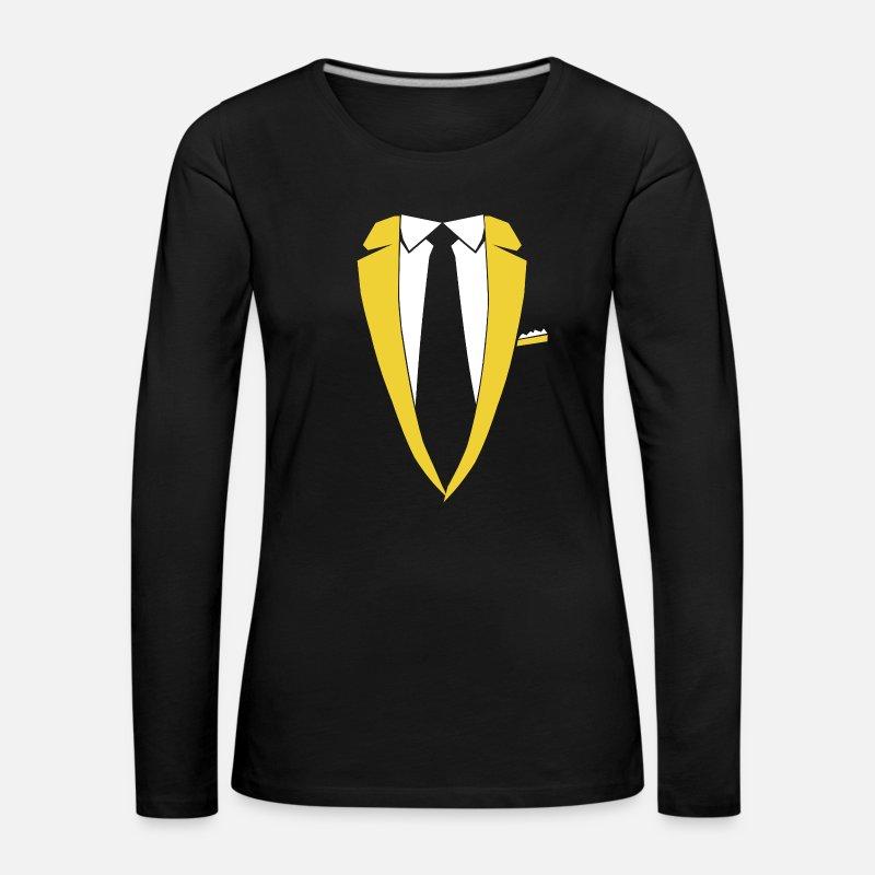 4b94f1bae5d9 Sakko Krawatte Kostüm Party Edel Geschenk Frauen Premium Langarmshirt    Spreadshirt