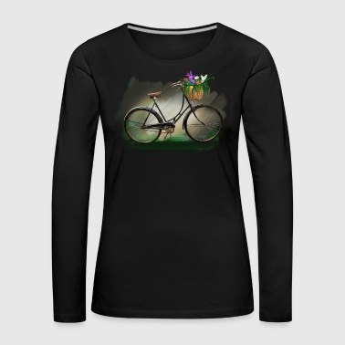 Bicycle with flowers - Dame premium T-shirt med lange ærmer
