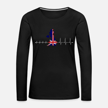 Uk Heartbeat UK - I love UK - Dame premium T-shirt med lange ærmer