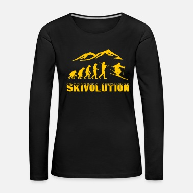 Mountains Ski evolution skier snow winter - Women's Premium Longsleeve Shirt