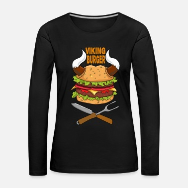 Health Viking Burger Food Food Pizza Fast Food Brainfood - Women's Premium Longsleeve Shirt