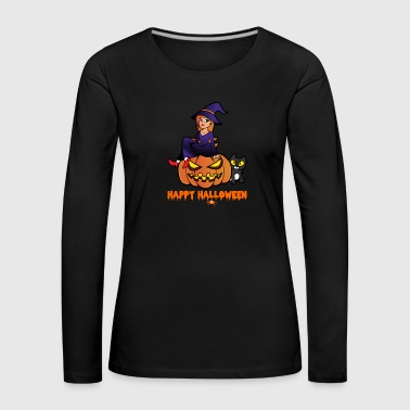Halloween Witch Cat Pumpkin Monster Zombie Horror - Maglietta Premium a manica lunga da donna