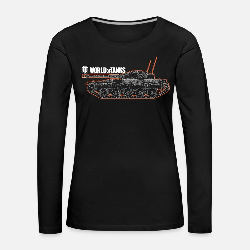 World Long Sleeve Shirts - World of Tanks - Orange Outline Tank - Women's Premium Longsleeve Shirt black