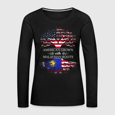Hibiscus America Malaysia flag birth roots tree land - Women's Premium Longsleeve Shirt