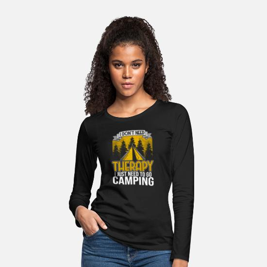 Forest Animal Long Sleeve Shirts - Camping tents tent camper mountains forest nature - Women's Premium Longsleeve Shirt black