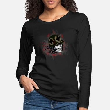 Skeleton Soldier Death Skull Paint Splatter Art - Women's Premium Longsleeve Shirt