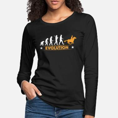 Evolution Reiten Reiten Evolution - orange/weiss - Frauen Premium Langarmshirt