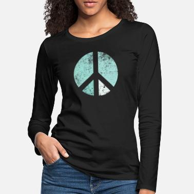 60s Retro peace sign turquoise-green - Women's Premium Longsleeve Shirt