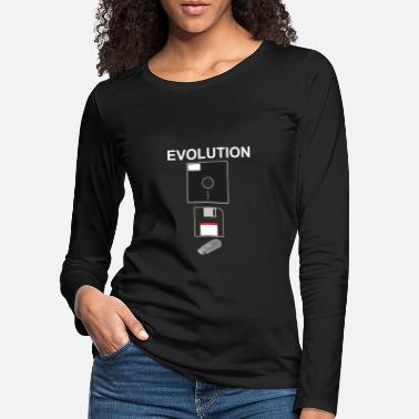 Evoluion of memory Dator PC Gamer nerd present - Premium långärmad T-shirt dam