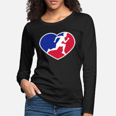 Blue red blue shape design logo love i love heart sport - Women's Premium Longsleeve Shirt