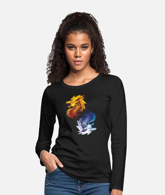 Gold Long sleeve shirts - Dragon dragon fantasy gift monster creature - Women's Premium Longsleeve Shirt black