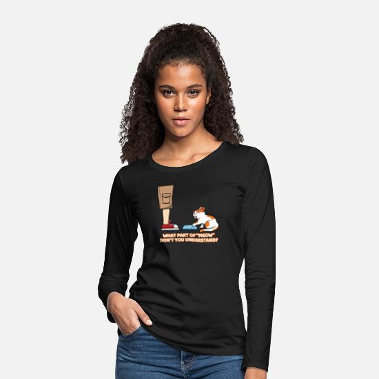 Hungry Long sleeve shirts - Funny Hungry Cat Kitty Kitten For Cat Lovers - Women's Premium Longsleeve Shirt black