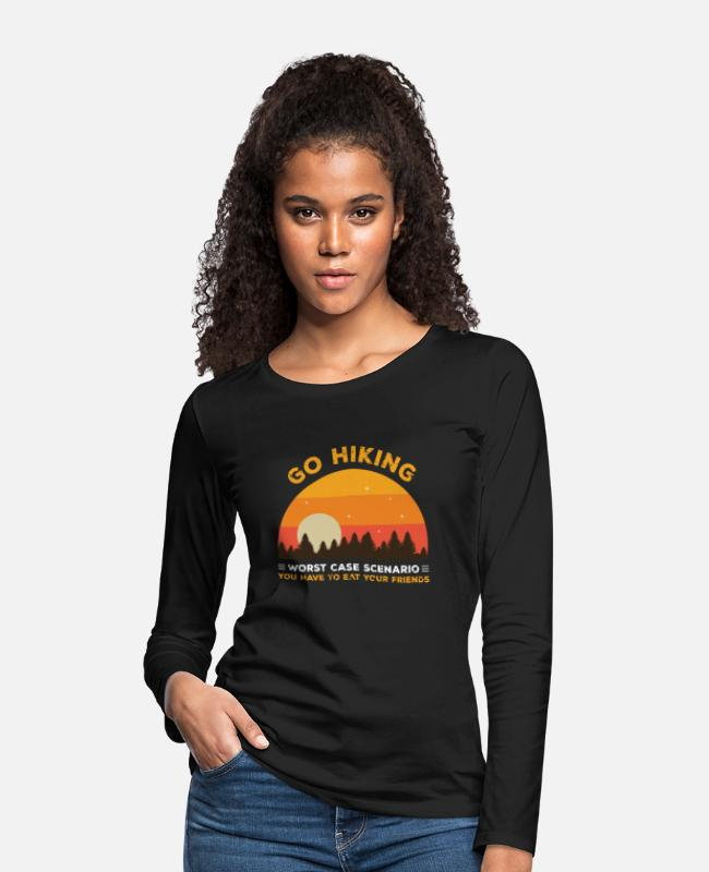 Mountains Long-Sleeved Shirts - Go Hiking Worst Case Scenario Shirt - Women's Premium Longsleeve Shirt black