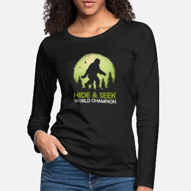 Masque Le champion du monde de cache-cache Bigfoot Sasquatch - T-shirt manches longues premium Femme