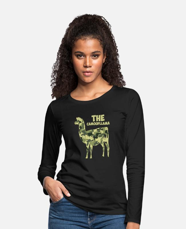Stag Long-Sleeved Shirts - The Camoufllama - Funny Camoflage Llama Gifts - Women's Premium Longsleeve Shirt black