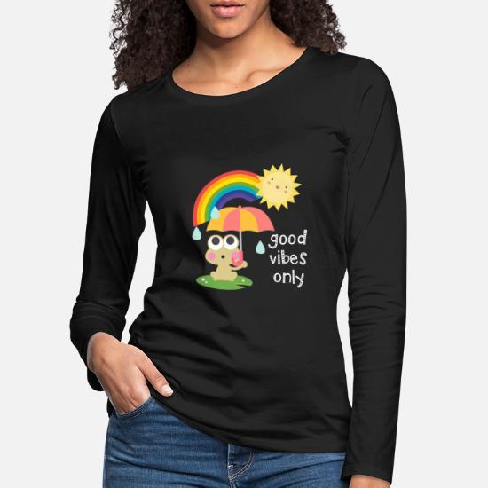 c6cd7629d Rain Long Sleeve Shirts - Good vibes only - Kawaii Frog and Rainbow -  Women's Premium