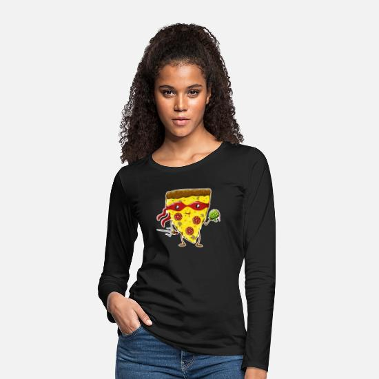 Picnic Long Sleeve Shirts - Ninja Pizza eats turtle - Women's Premium Longsleeve Shirt black