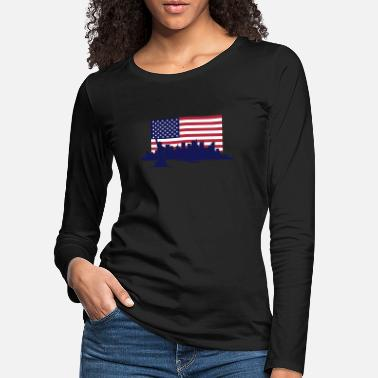 United States New York Skyline - United States Flag - Vrouwen premium longsleeve
