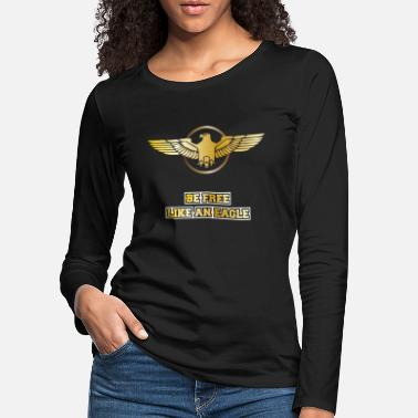 Flug Adler Greifvogel Gold Ring. Be Free Like an Eagle - Frauen Premium Langarmshirt