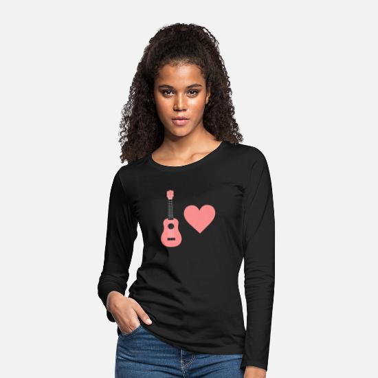 Ukulele Long Sleeve Shirts - Ukulele Love - Women's Premium Longsleeve Shirt black