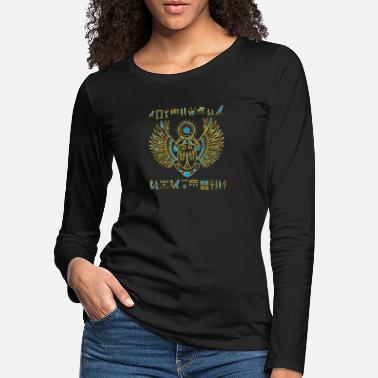 Hieroglyphics Egyptian Scarab Beetle Gold and blue stained glass - Women's Premium Longsleeve Shirt