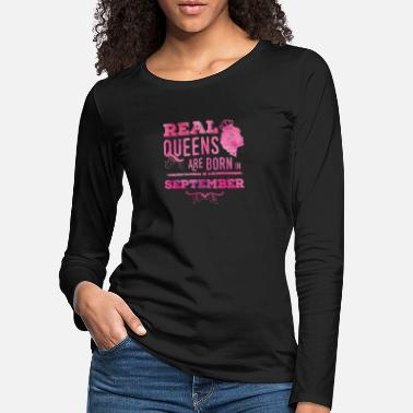 Mom Day september queens born in pink - Frauen Premium Langarmshirt