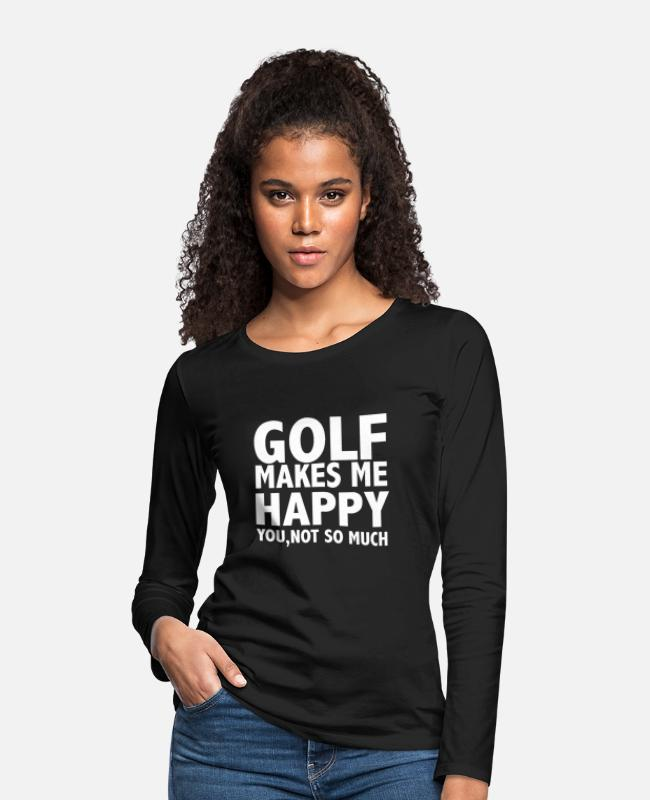 Christmas Long-Sleeved Shirts - Golf Makes Me Happy - Women's Premium Longsleeve Shirt black