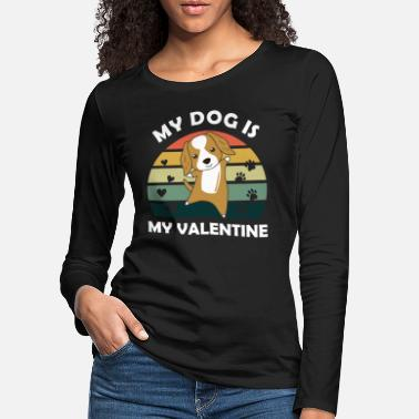 February My dog is my valentine cocker spaniel heart vintage - Women's Premium Longsleeve Shirt