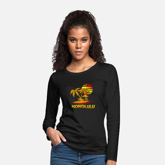 Birthday Long Sleeve Shirts - Honolulu Hawaii - Women's Premium Longsleeve Shirt black
