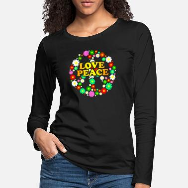Digiart Hippie Flower Power Peace and Love 60s - Women's Premium Longsleeve Shirt