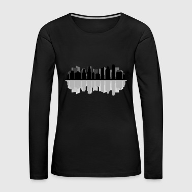 chicago skyline - Premium langermet T-skjorte for kvinner