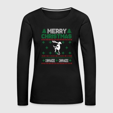 Cute Kids Chimpanzee Ugly Christmas Tshirt - Women's Premium Longsleeve Shirt