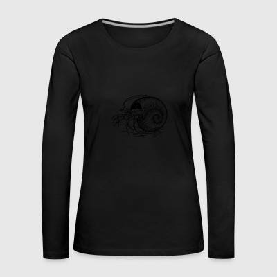 Crab black and withe with a Shell - Women's Premium Longsleeve Shirt