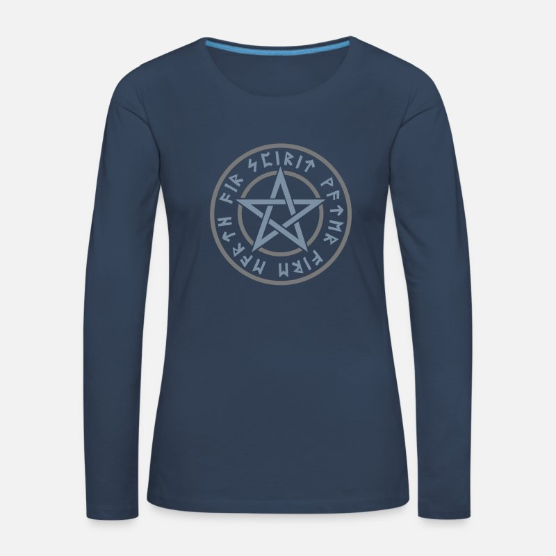 Pagan Long Sleeve Shirts - Pentagram elements magical runes star symbol pagan - Women's Premium Longsleeve Shirt navy