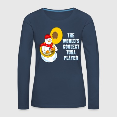 Music Note Coolest Tuba Player Light Text - Women's Premium Longsleeve Shirt
