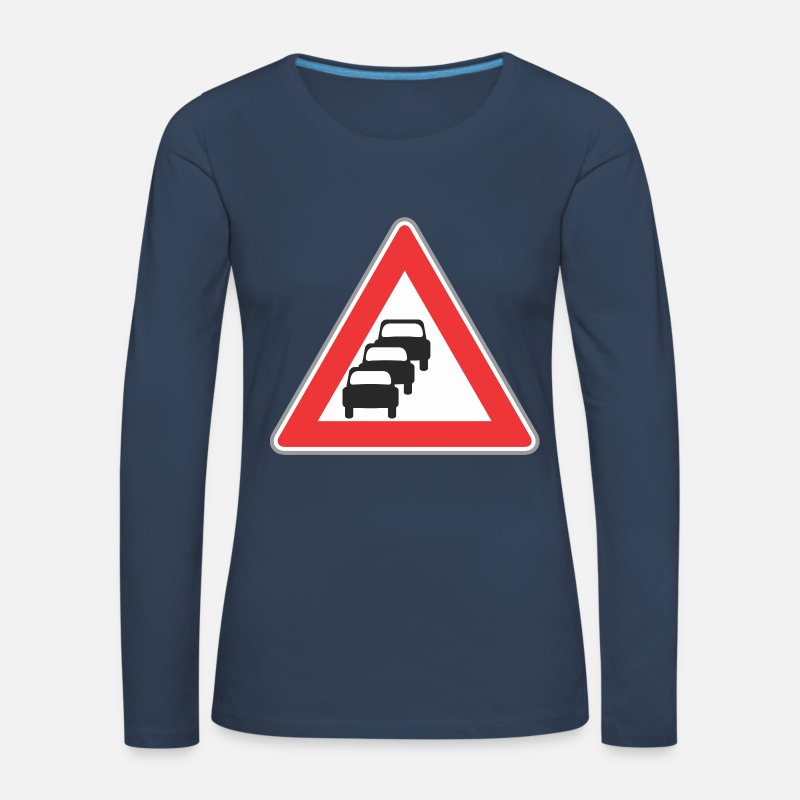 Road Transport Long Sleeve Shirts - Road sign 3 cars - Women's Premium Longsleeve Shirt navy