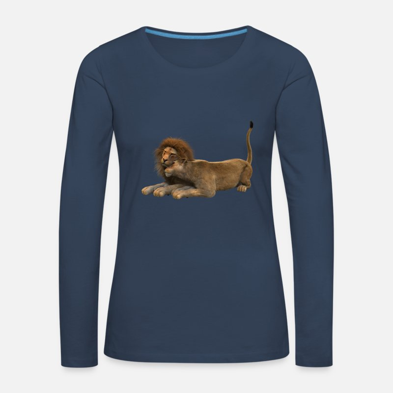 Couples Long Sleeve Shirts - Lion and lioness couple - Women's Premium Longsleeve Shirt navy