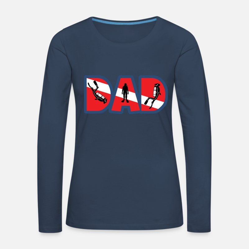 Scuba Diving Long Sleeve Shirts - SCUBA DAD - Women's Premium Longsleeve Shirt navy