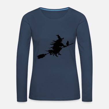 Flygande häxa på Hexenbese med kattunge Premium långärmad T-shirt ... 65e84d5c3be8a